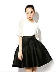 Women's Solid Black Skirts , Vintage/Party Above Knee Ruched