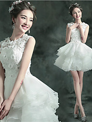 A-line Short/Mini Wedding Dress - Jewel Lace