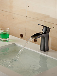 Contemporary Oil-rubbed Bronze Waterfall Bathroom Sink Faucet (Short)- Black