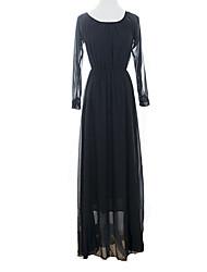 Women's Sexy Cute Maxi Plus Sizes Inelastic Long Sleeve  Dress (Chiffon)