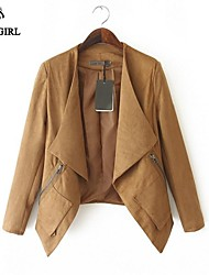 LIVAGIRL®Women's Jacket Fashion Long Sleeve Loose Suede Fabric Coat Europe Style Casual All-Match Outwear