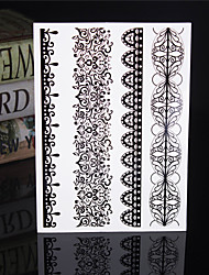 4PCS Black Tatouage Temporary Tattoo Sticker Taty Tatoo Metal Tatoos Fake Tattoo Body Tatto Lace Wedding Tattoos