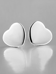2015 Italy Style Silver Plated Heart Design Stud Earrings for Lady