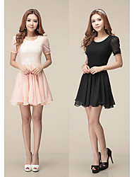 Women's Lace Pink / White / Black Dresses , Bodycon Round Short Sleeve