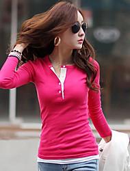 Women's Solid Red / Green / Purple T-shirt , Crew Neck Short Sleeve