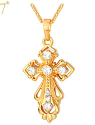 U7® Women's Latin Cross Pendants Necklaces Luxury Fashion Jewelry Platinum/18K Real Gold Plated Cubic Zirconia Necklaces