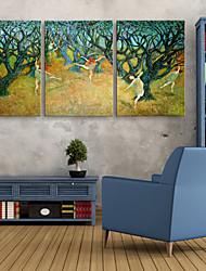 E-HOME® Stretched LED Canvas Print Art Woman Under The Tree LED Flashing Optical Fiber Print Set of 3