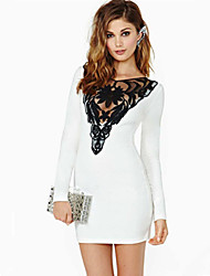 W.W.W  Women's V-Neck Dresses , Lace Sexy/Party Long Sleeve