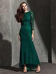 Formal Evening / Black Tie Gala Dress Trumpet / Mermaid Bateau Asymmetrical Lace with Lace