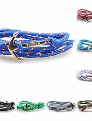 Women's Men's Charm Bracelet Wrap Bracelet Friendship Fashion Personalized Alloy Anchor Blue Dark Red Light Blue Light Green Dark Green