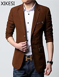 Men's Casual/Work Pure Long Sleeve Regular Blazer (Cotton Blend) XKS7C22