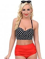 Damen Bikinis - Punkt / Bandage / Retro / Push-Up Push-Up Polyester Halfter