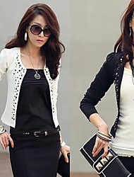 Y.F  Women's Solid Color White / Black Coats & Jackets , Sexy Tailored Collar Long Sleeve