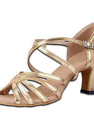Non Customizable Women's Dance Shoes Satin / Leatherette Satin / Leatherette Latin High Heels Chunky HeelPractice / Beginner /