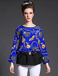 Women Fashion Autumn New Brand Vintage Print Patchwork Bowknot Loose Plus Size Long Sleeve Blouse Shirt Tops