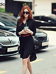 Women's Solid White Blouse Long Sleeve Button/Split
