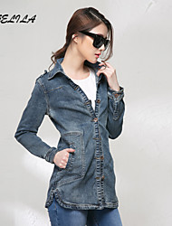 Women's Casual Long Sleeve Long Jeans Coat