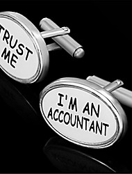 Men's Trust Me I'm An Accountant Oval Enamel White Cufflinks