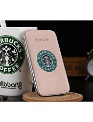 bateria externa 5000mAh starbucks cristal dourado banco de potência multi-saída para iphone6 / samsung Nota4 e outro móvel