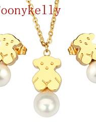 Toonykelly® Fashionable Stainless Steel Jewelry Set Pearl Mini Bear Pendant & Earring(1Set)