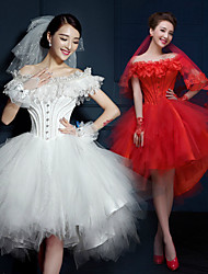 A-line Short/Mini Wedding Dress - Off-the-shoulder Tulle