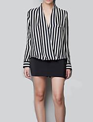 Women's Sexy Casual Cute Work Plus Sizes Inelastic Long Sleeve Regular Shirt (Chiffon)