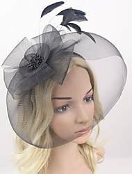 Women Feather/Net Black Bowknot Flowers/Birdcage Veils With Wedding/Party Headpiece