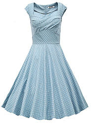 Women's Polka Dot Dresses , Vintage Sleeveless
