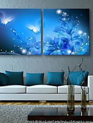 E-HOME® Stretched LED Canvas Print Art Shining Butterfly LED Flashing Optical Fiber Print Set of 2