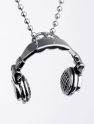 European Style Headset Shape Titanium Steel Music Hot Sales Pendant For Mens(White)(1Pc)