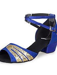 Non Customizable Women's/Kids' Dance Shoes Latin Satin Low Heel Blue/Pink/Gold
