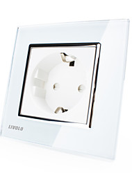 Livolo EU Standard Wall Socket, 80mm*80mm, 220-250V, Luxury Crystal Glass Panel, White/Black Color, VL-C7C1EU-11/12