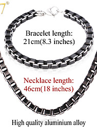 U7® Men's 2015 Fashion 18'' Necklaces Bracelets Sets High Quality Men Jewelry Black Cool Box Link Chain Jewelry Sets