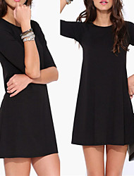 Women's Solid Color Black Dresses , Bodycon Round ½ Length Sleeve