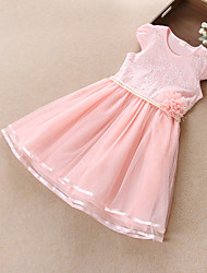 Girls Pearl Flower Tulle Embroidered  Princess Children Clothes Dresses