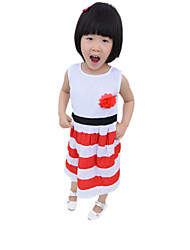 Girls' Summer Dresses Sleeveless Round Collar Flowers Stripe One Piece Dresses (Cotton)