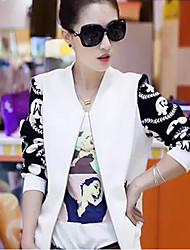 Women's White/Black Jackets , Casual Long Sleeve