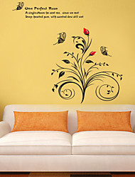 Wall Stickers Wall Decals Style Beautiful Roses PVC Wall Stickers
