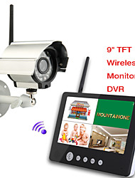 9 inch Digital 2.4G Wireless Cameras Audio Video Baby Monitors 4CH Quad DVR Security System With IR night light Cameras