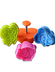 4PCS Insect Pattern Cake and Cookie Cutter Mold with Plunger