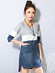 Women's Casual ½ Length Sleeve Asymmetrical Dress (Denim)