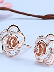 Boucles d'oreilles argent argent sterling boucles d'oreille mode coréenne tout match Rose Rose plaqué or