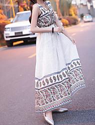 Women's V-Neck Dresses , Cotton Blend Casual Sleeveless life