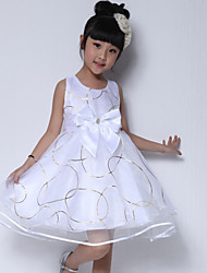 Girl's Cotton/Polyester Sweet Leisure Bowknot Sleeveless Dress