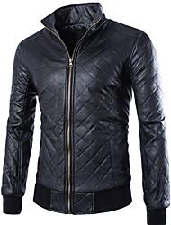 JACK-BOY Men's Stand Coats & Jackets , PU Long Sleeve Casual