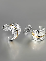 2015 Italy Style Silver Plated Classical Design Stud Earrings for Lady