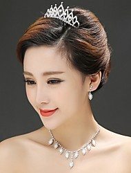 Women's Alloy Headpiece - Wedding/Special Occasion Tiaras 3 Pieces Including Tiara Earrings Necklace