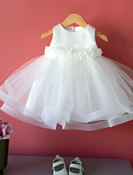 Ball Gown Tea-length Flower Girl Dress - Cotton / Tulle / Polyester Sleeveless Jewel with