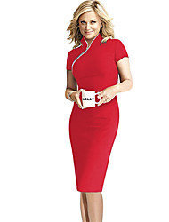 Work Bodycon Dress,Solid Stand Knee-length Short Sleeve Red / Black / Green Cotton / Others Summer Stretchy