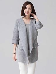 Women's Solid Beige/Gray Cardigan , Vintage ¾ Sleeve Pocket
